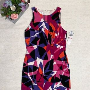 London Times Geo Print Sleeveless Dress